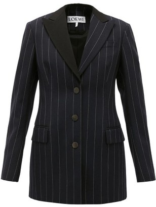 Loewe Pinstriped Single-breasted Wool Jacket - Womens - Navy