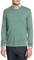 Neiman Marcus Cashmere-Silk Crewneck Sweater, Sky