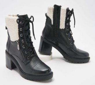 Marc Fisher Lace-Up Heeled Booties w/ Shearling - Lansly