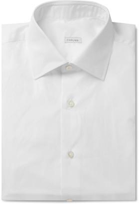 Caruso White Camromo Slim-Fit Cotton Shirt