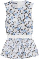 Alexander McQueen Grosgrain-trimmed Floral-jacquard Peplum Top - Sky blue