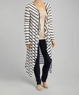 Canari Black & White Stripe Drape Open Duster - Plus