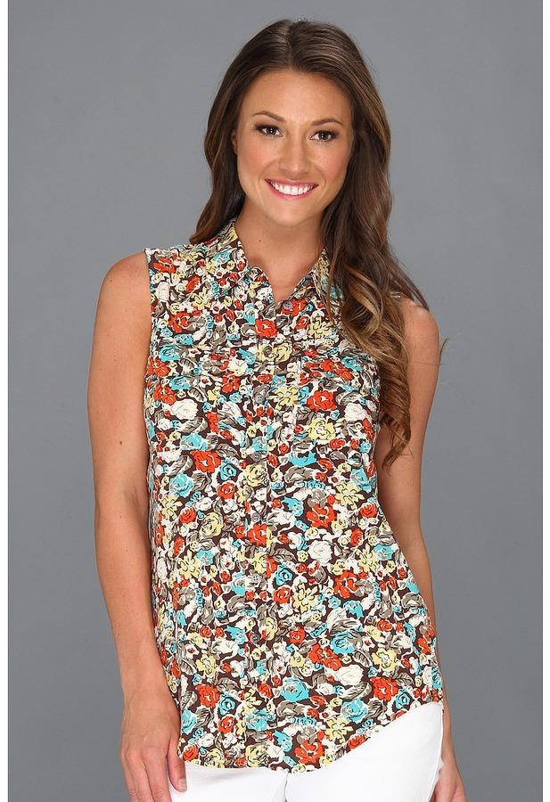 Vince Camuto TWO by Sleeveless Monaco Floral Utility Shirt (French Roast) - Apparel