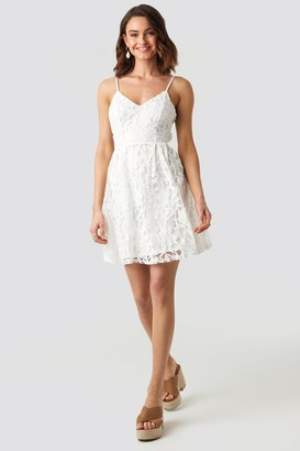 NA-KD Lace Strap Mini Dress Beige