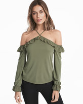 White House Black Market Ruffled Cold-Shoulder Top