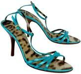 Roberto Cavalli Blue Metallic Strappy Sandal Heels