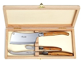 Laguiole Jean Dubost 3-Piece Olive Wood Cheese Set