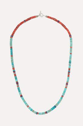 Mikia Silver Multi-stone Beaded Necklace - Blue