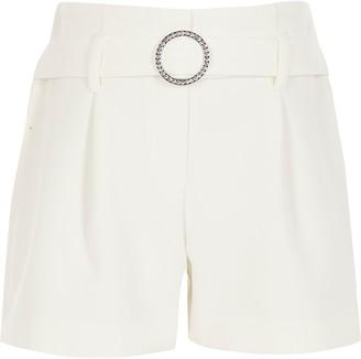 River Island Girls White diamante belted shorts