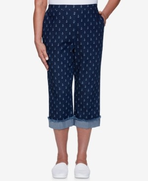 Alfred Dunner Petite Anchor's Away Anchor-Print Capri Pants