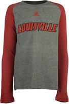adidas Boys' Long-Sleeve Louisville Cardinals Font Raglan T-Shirt