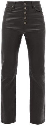 Joseph Den Leather Straight Leg Trousers - Womens - Black