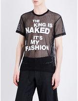 Comme Des Garcons Text-print Mesh T-shirt