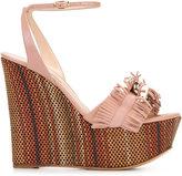 Casadei fringe strap wedge sandals - women - Leather/Suede - 35