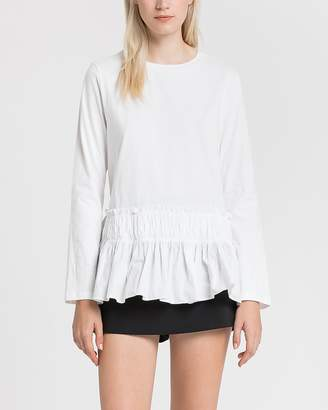Express English Factory White Ruffle Hem Jersey Tee