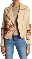 Floral Embroidery Faux Leather Moto Jacket