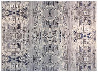 F.J. Kashanian 9'x12' Sari Graphic Hand-Knotted Rug - Gray/Ivory light gray/ivory