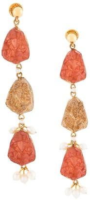 Oscar de la Renta Tier Hanging Earrings