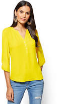 New York & Co. Soho Soft Shirt - Split-Sleeve V-Neck Blouse