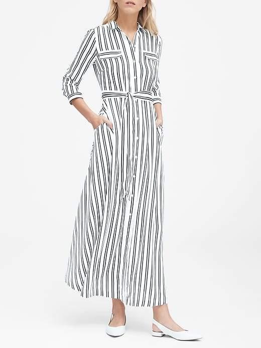 Banana Republic Stripe Maxi Shirt Dress