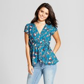 Xhilaration Women's Printed Surplice Top Juniors')
