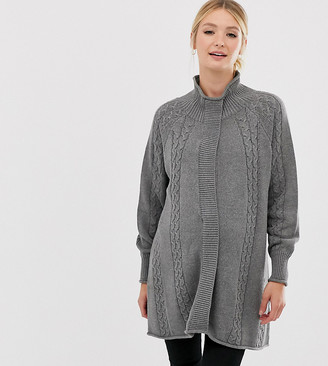 Mama Licious Mamalicious high neck nursing poncho sweater with open front