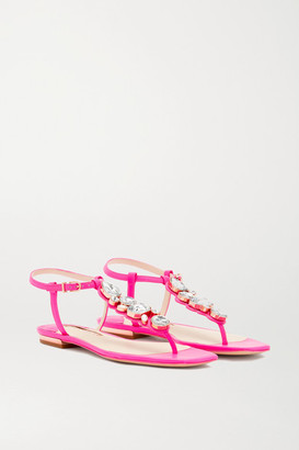 Sophia Webster Ritzy Crystal-embellished Leather Sandals - Fuchsia