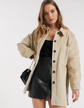 Vero Moda longline cord jacket in beige