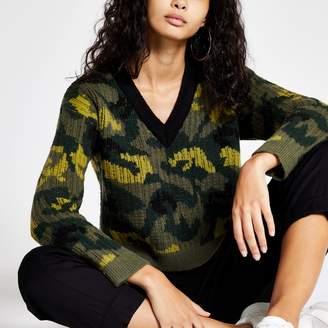 River Island Womens Green camo print V neck jumper
