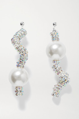 PEARL OCTOPUSS.Y - Snake Silver-plated, Crystal And Faux Pearl Earrings - one size