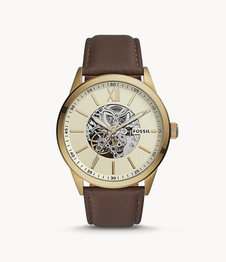 Fossil 48Mm Flynn Automatic Brown Leather Watch jewelry
