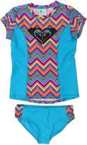 Roxy Girls Logo Rash Guard Set
