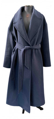 Ganni Fall Winter 2019 Blue Wool Coats