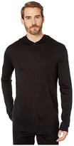 John Varvatos Collection Cashmere Blend Pullover Hoodie with Rib Stitch Y2748V4 (Black) Men's Clothing