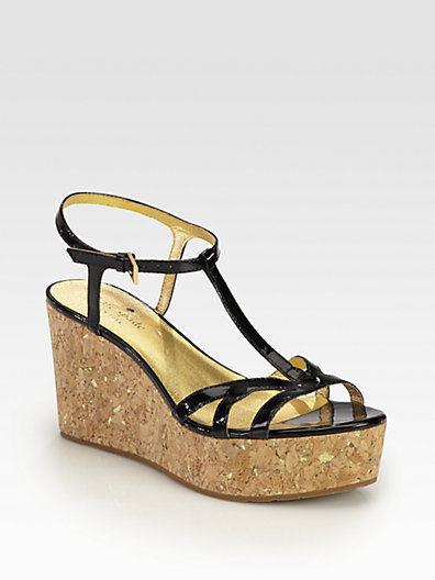 Kate Spade Theodora Patent Leather Cork Wedge Sandals