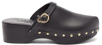 Ancient Greek Sandals Wing-buckle Leather Clog Mules - Black