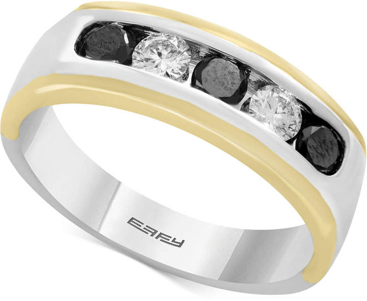 Effy Men's Diamond (1 ct. t.w.) Ring in 14k Gold & White Gold