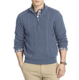 Izod Aran Cable-Knit Quarter-Zip Sweater