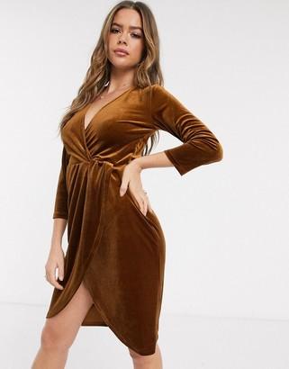 JDY Sandy 3/4 sleeve velvet wrap dress