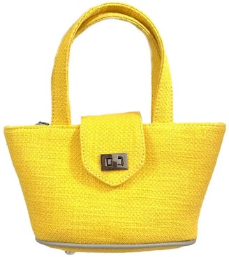 L2r The Label Mini Panier Crossbody Bag In Yellow Wool