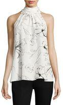 Diane von Furstenberg Floral-Print Silk Halter Top