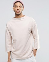 Asos Oversized Longline Sweatshirt With Half Sleeve