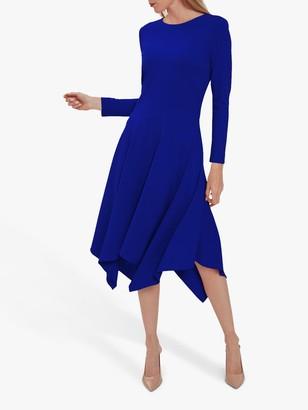 Gina Bacconi Lulana Soft Crepe Hanky Hem Dress, Blue