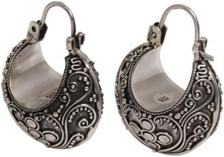 Novica Artisan Crafted Sterling Sterling Hoop Earrings