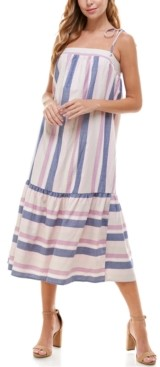 BeBop Juniors' Striped Flounce Midi Dress