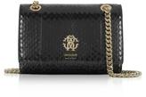 Roberto Cavalli Black Shiny Elaphe Leather Shoulder Bag