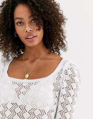 ASOS DESIGN ruched sleeve open stich sweater