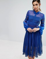 Three floor Lace Midi Dress with Sheer Sleeve