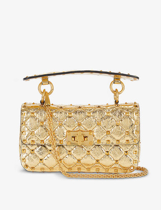 Valentino Rockstud Spike quilted metallic leather cross-body bag