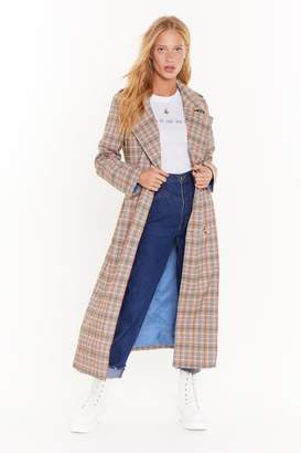Nasty Gal Womens Plaid With Fire Trench Coat - Yellow - 4